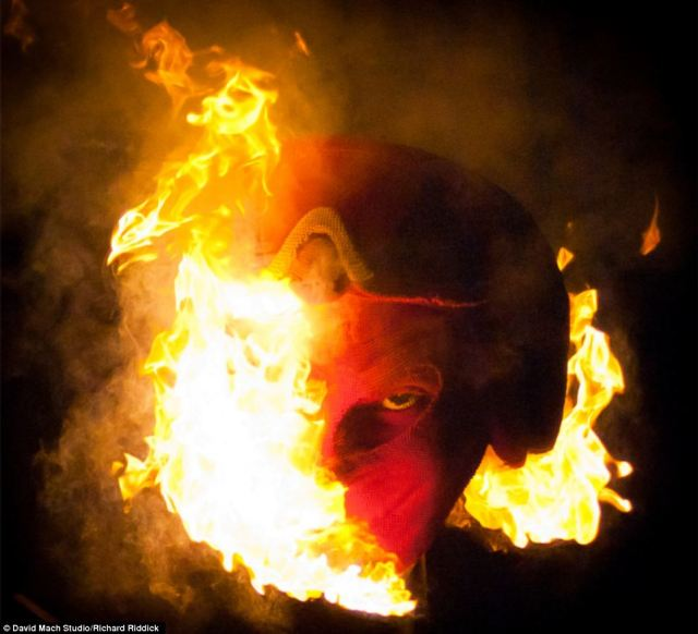 The devil on fire: David mach set his sculpture alight