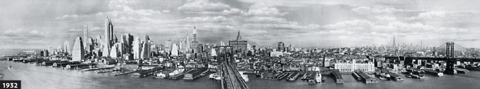 In 56 years high-rise buildings have already made a significant change on the skyline and the opposite side of Manhattan Island can no longer be seen (picture from UrbanPeek.com)