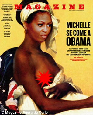 Controversial: A Spanish magazine digitally altered a French portrait of a slave to include the First Lady's face
