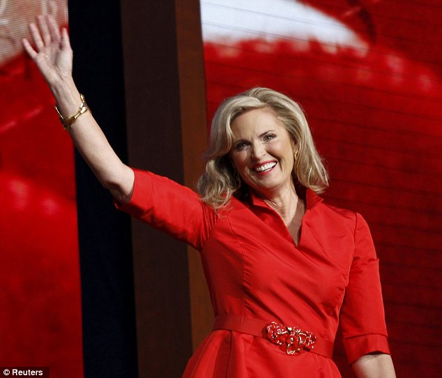 Raucous reception: Ann Romney was greeted by applause when she appeared on the Tampa stage