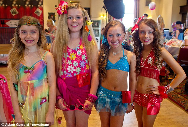 Some of the contestants at the Glitz Sparkle 2012 competition - one of the first American style beauty pageants to be held in the UK
