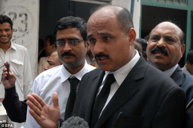 Lawyer Raja Ikram, one Rimsha Masih's representatives, talks to journalists after the hearing in Islamabad, where his client was granted bail after three weeks detention