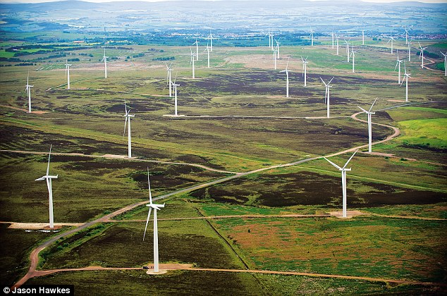 A wind farm in Lanarkshire - some UK wind farms have more than 100 turbines