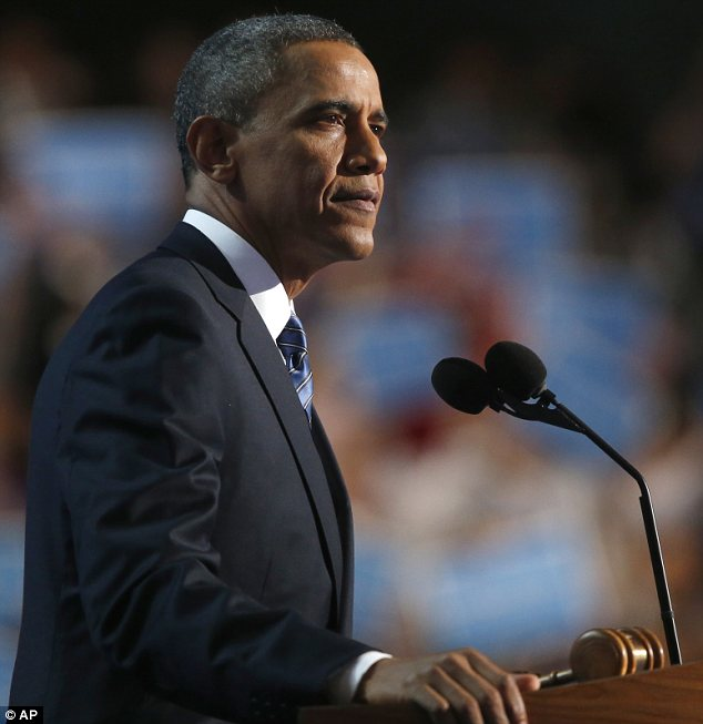 Sombre: Barack Obama spoke without the exuberance that marked his earlier campaigns