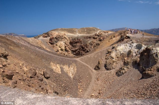 Volcanic crater on Nea Kameni, Santorini, Greece. The chamber of molten rock beneath Santorini's volcano expanded 10 to 20 million cubic metres