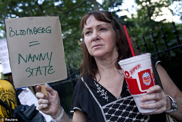 Upset: Andrea Hebert of New York, protests the soda-ban while holding a 7-Eleven Big Gulp, one of the few exceptions to the ban due to the store considered a grocery store