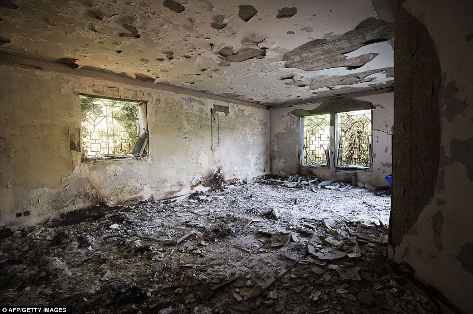 Damages: The inside of the burnt US consulate building in Benghazi two days after the deadly attack