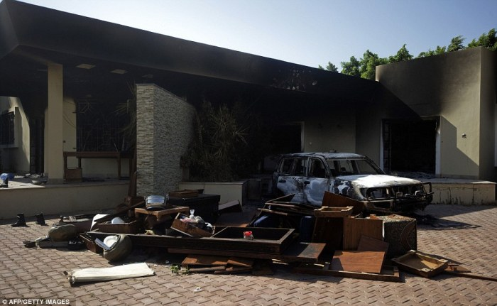 What's left: A burnt vehicle and broken furniture inside the US consulate compound in Benghazi today