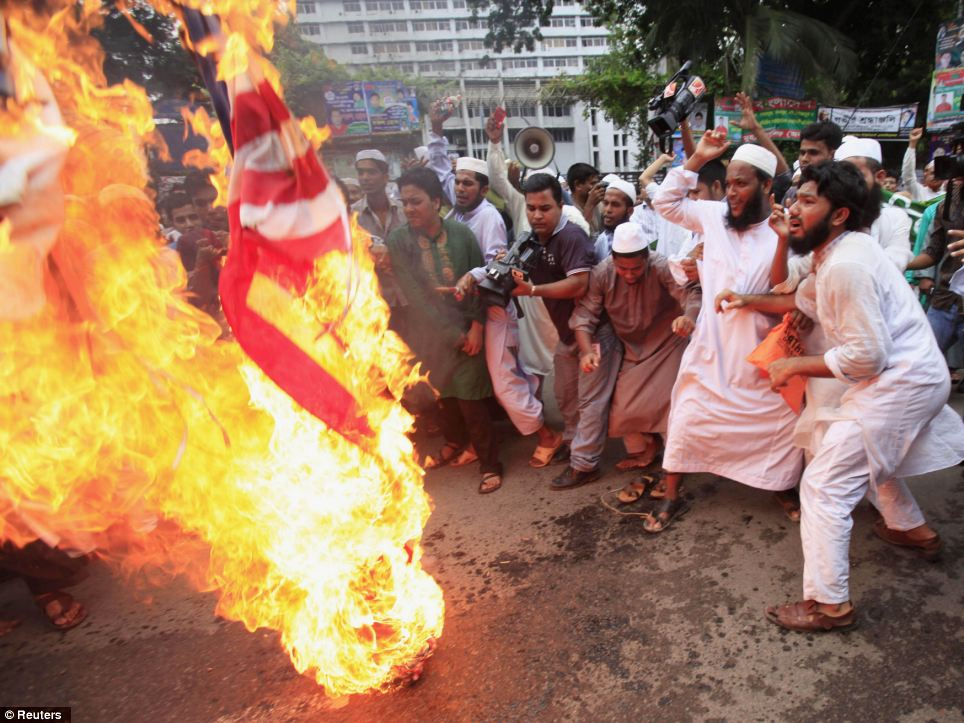 Bangladesh: Also this morning, around 10,000 Muslims from half a dozen Islamist groups staged a noisy protest in Bangladeshi capital Dhaka, burning and trampling American flags while chanting anti-US slogans