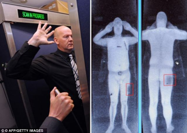 Controversial: A demonstration of the scanners that European bosses have failed to give approval of. A full body scan is shown, left, and a screen showing the results of the scan, right