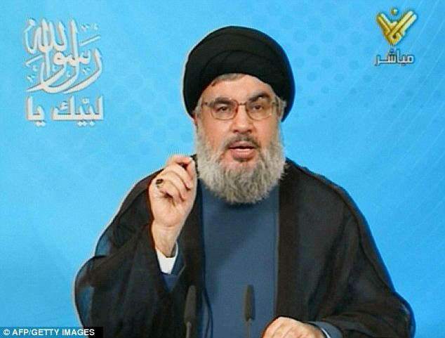 Arguing for action: Hezbollah leader Sheik Hassan Nasrallah pushed for the creation of an international law that would ban insults of Islam in wake of the offensive film that prompted global protests