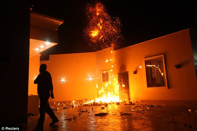 Aflame: The U.S. consulate in Benghazi is seen in flames during a protest by an armed group said to have been protesting a film being produced in the United States