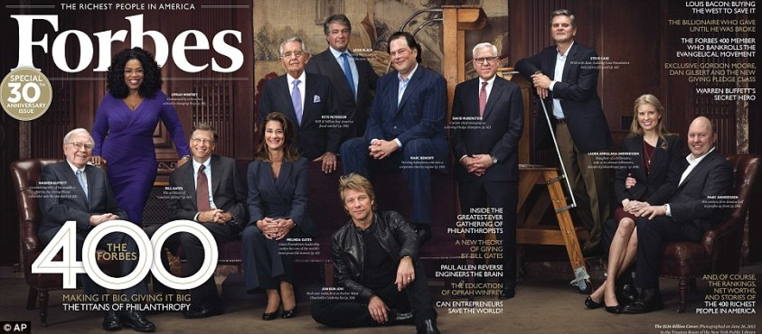 Big spenders: The super-rich philanthropists gathered at New York Public Library in June for the portrait which featured of the Forbes 400 cover