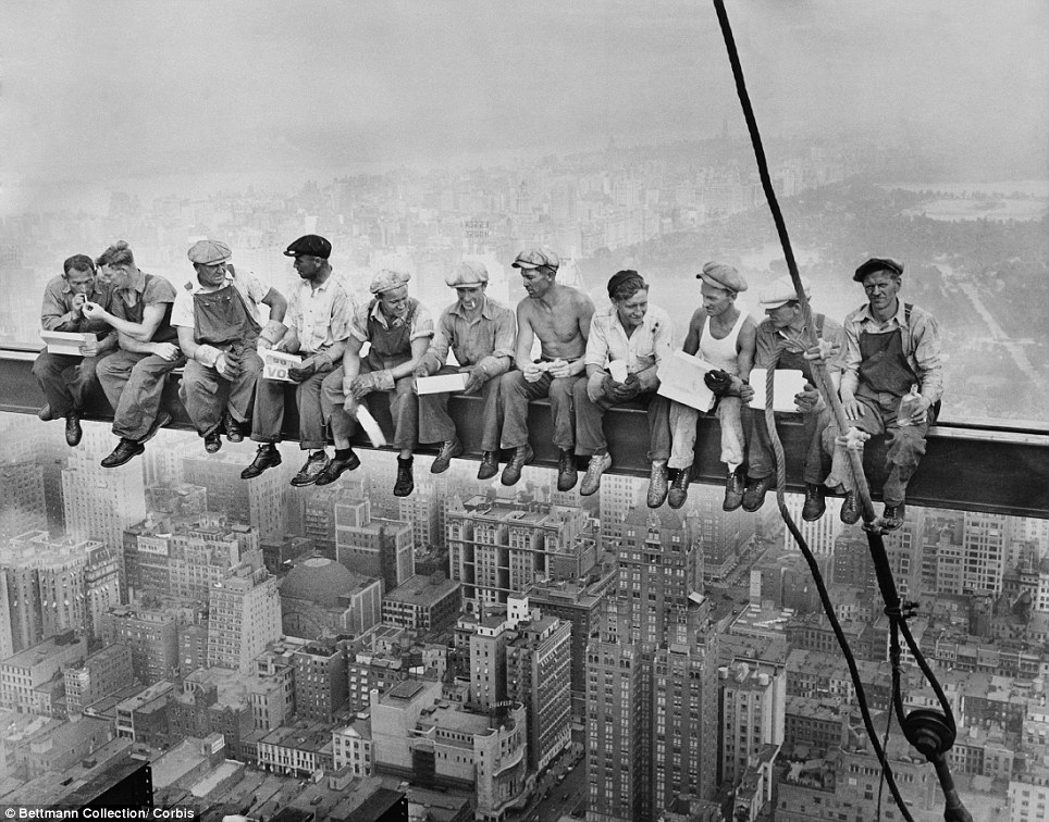 Image result for guys eating lunch on a beam