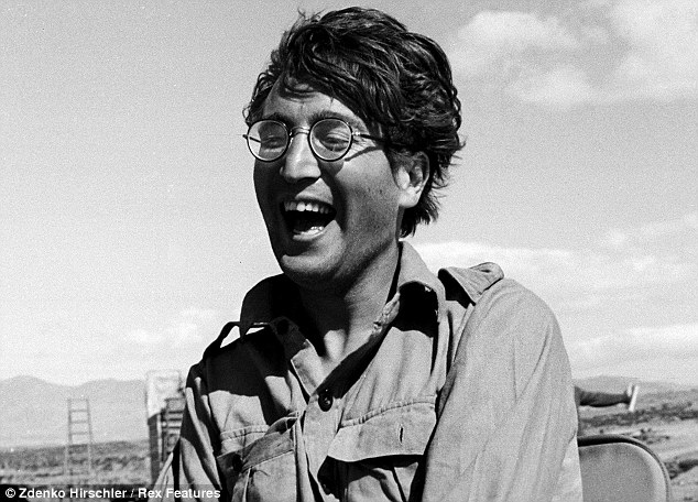 Having a laugh: Previously unseen pictures of The Beatles star John Lennon on the film set of 'How I Won The War' in Almeria, Spain in 1966