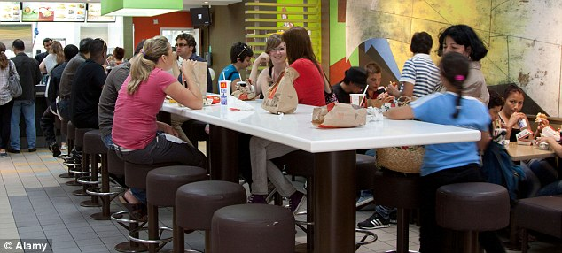 Eating out Customers at a McDonald's store tuck in. Health chiefs say fast food is high in calories, sugar, fat and salt