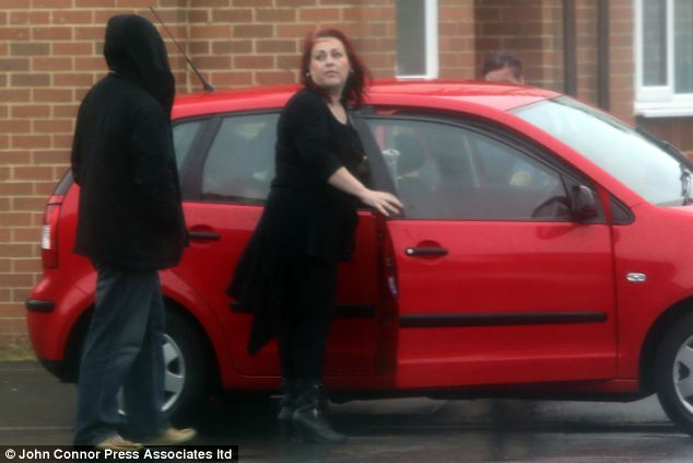 Megan Stammers' worried mother Danielle leaving her home today