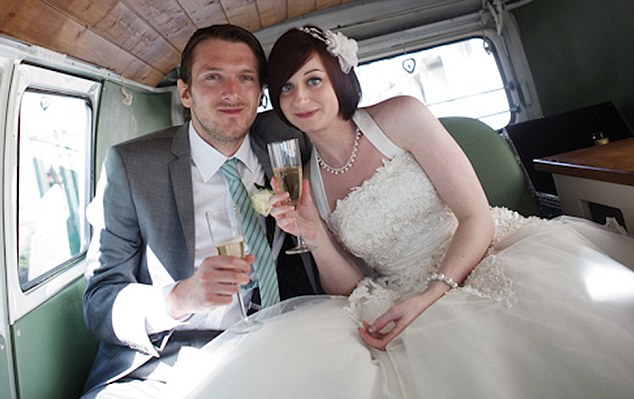 Married: Maths teacher Jeremy Forrest, 30, pictured with his wife Emily on their wedding day in Brighton