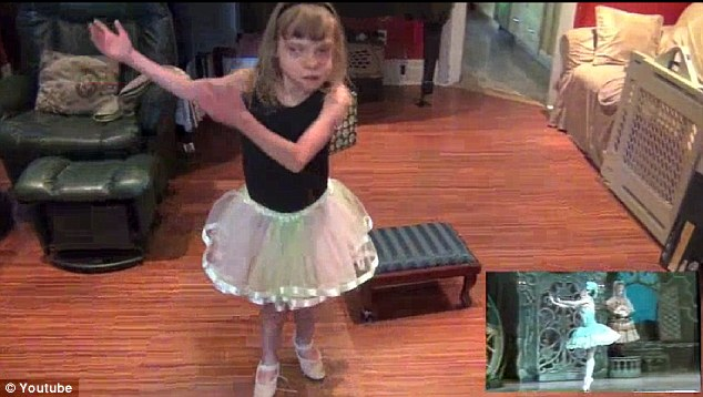 Spot on: Her parents thought she was performing ballet class moves until they saw a video of Coppelia