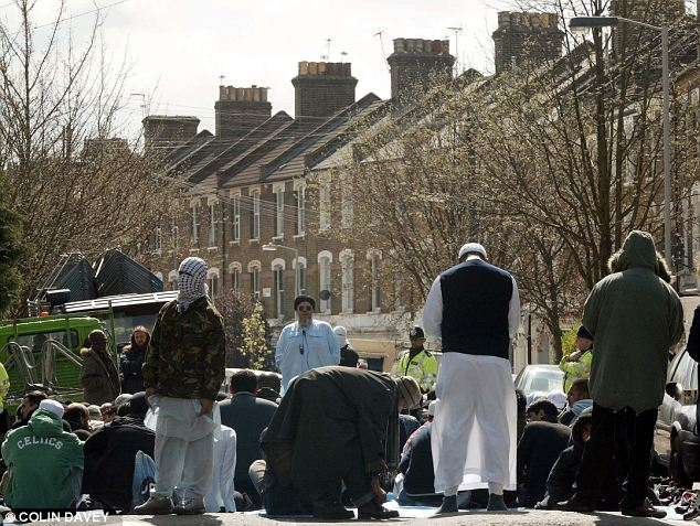 Sermons of hate: Hamza leads worshippers outside the Finsbury Park Mosque