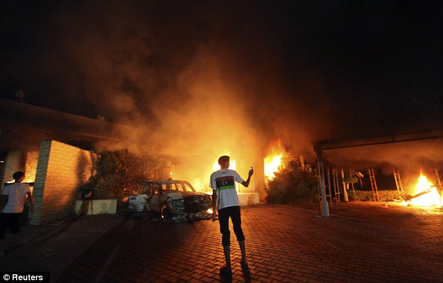 The U.S. Consulate in Benghazi was set alight during a protest by an armed group on the anniversary of September 11