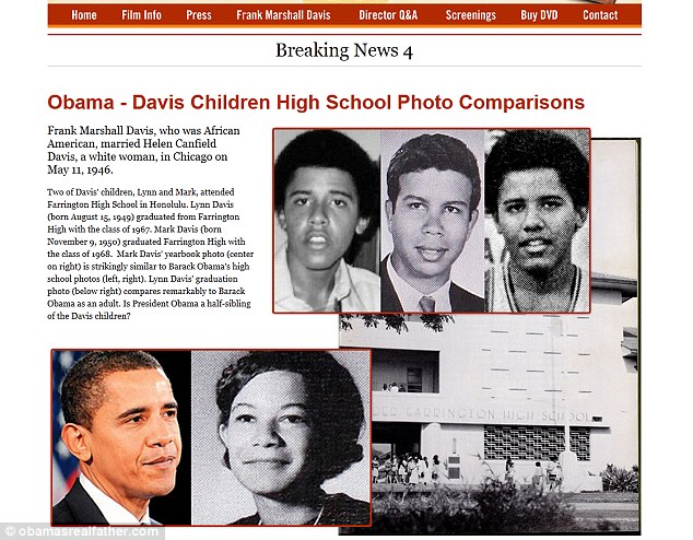 Claims: A website for the DVD entitled, Dreams from My Real Father, compares photographs of a young Mr Davis with Barack Obama's high school photographs presenting them as similar