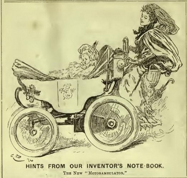 From the 'inventor's notebook' it appears they intended the device to enable mothers to seem as though they could effortlessly glide behind the pram
