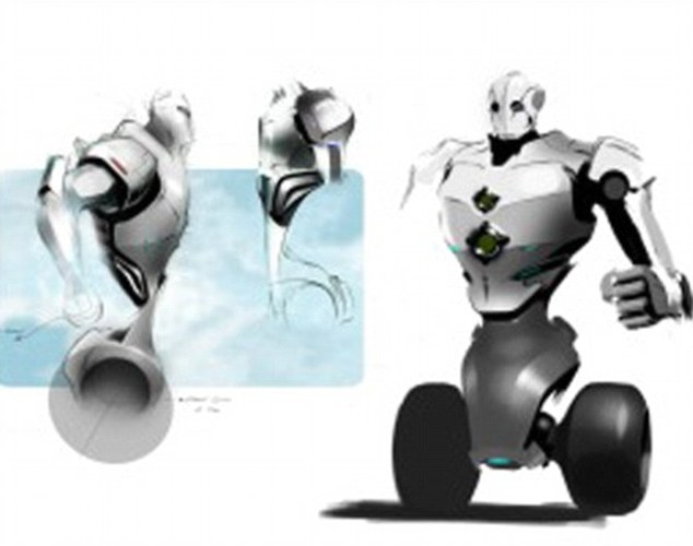 Early prototype drawings of the real life RoboCop, called PatrolBot, being developed in the US.