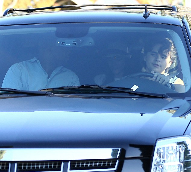 Getting his motor running: Prince Jackson took his brother for a spin in Los Angeles on Sunday