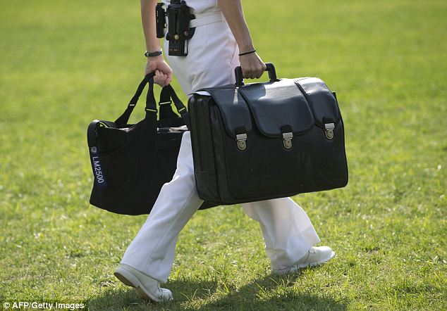 Sensitive: The Military Office, which was targeted in the attack, is in charge of securing the 'nuclear football' which is the black briefcase (pictured) that contains the nuclear launch codes