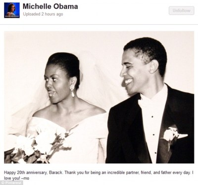 Wedding day: The Obamas posted this photograph on social media to celebrate their 20th anniversary