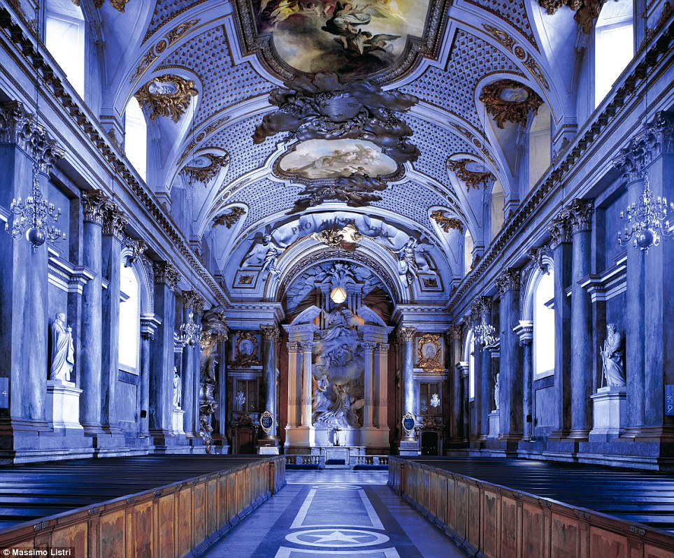 Sounds of silence: These images of grand halls have been captured by Italian photographer Massimo Listri; here, the Royal Palace of Stockholm in Sweden