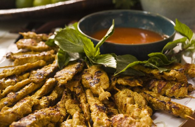 Chicken satay on a plate