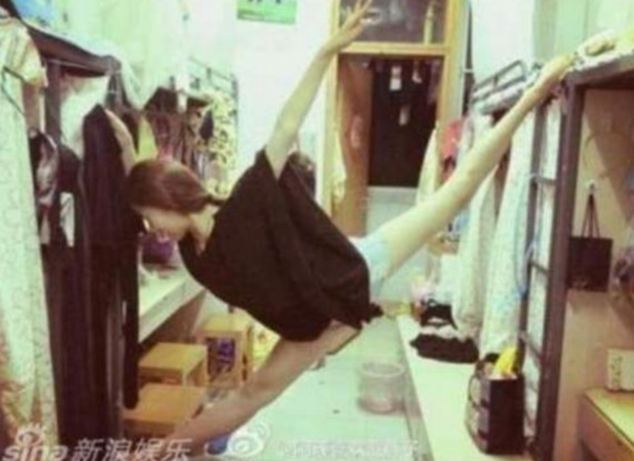Sina, a college student sparked the malleable meme when she posted this photo of her doing the splits in a dorm room