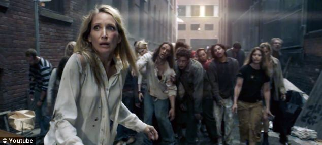 Suddenly the woman finds herself surrounded by a gang of zombies