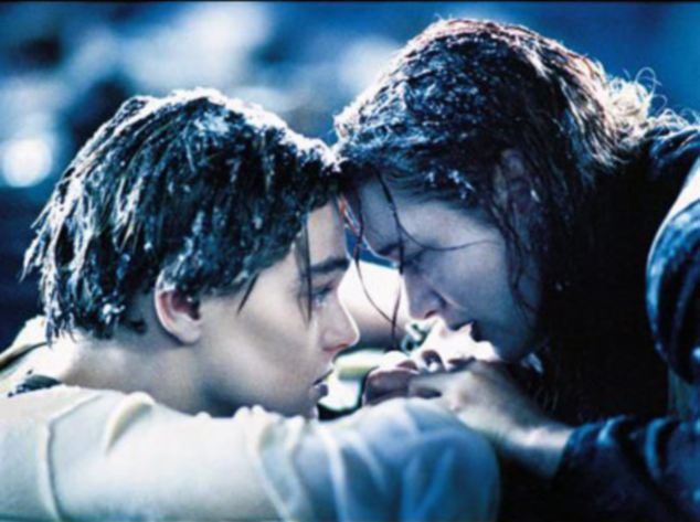 Doomed: Jack, played by Leonardo Di Caprio, slips into the icy Atlantic waters as lover Rose DeWitt Bukater, played by Kate Winslet, clings on to a makeshift raft in the climax to blockbuster Titanic film