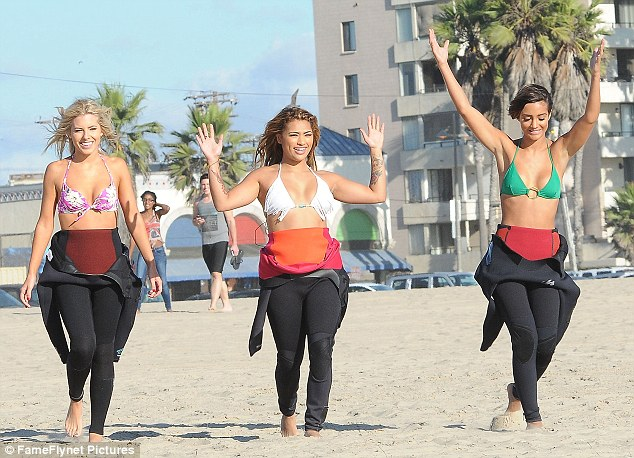 Surfing Saturdays! Frankie joined Mollie King and Vanessa White on the beach for a surfing lesson