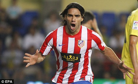 Demolition: Falcao netted a hat-trick as Atletico beat Chelsea in this year's Super Cup