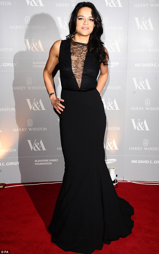 Breathtaking: Michelle Rodriguez stole the show in a daring Ariella Couture gown as she attended a launch dinner to celebrate the Victoria and Albert Museum's new Hollywood costume exhibition