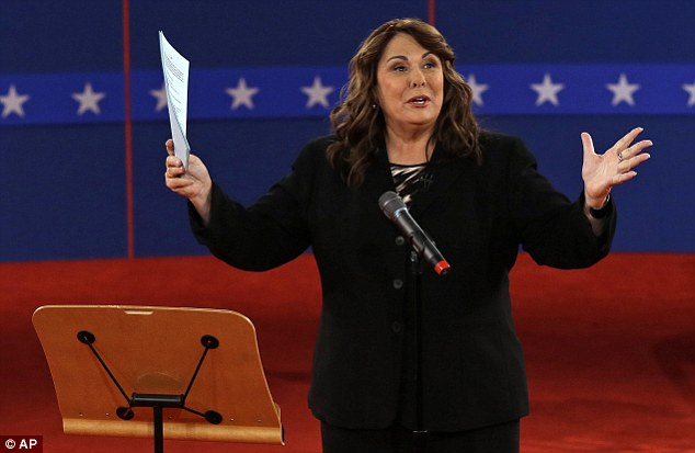 Hot seat: Moderator Candy Crowley talks to the audience at Hofstra University on Long Island last night before Barack Obama and Mitt Romney took to the stage for the second presidential debate