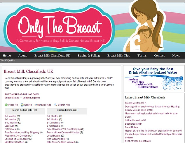Mothers are selling their excess breast milk to make some quick money on a classifieds website
