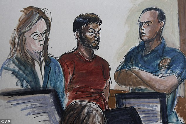 No plea: Quazi Mohammad Rezwanul Ahsan Nafis, 21, center, and his attorney Heidi Cesare, left, in Brooklyn Federal Court today; he did not offer a plea