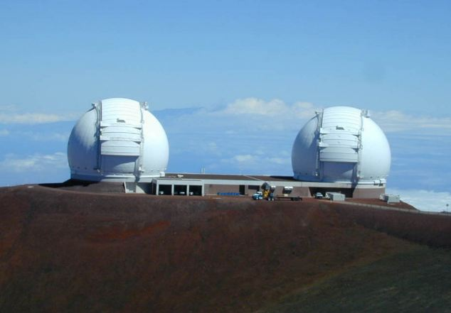 Two telescopes at the W.M. Keck Observatory on Mauna Kea on the Big Island of Hawaii which were used to capture the new images