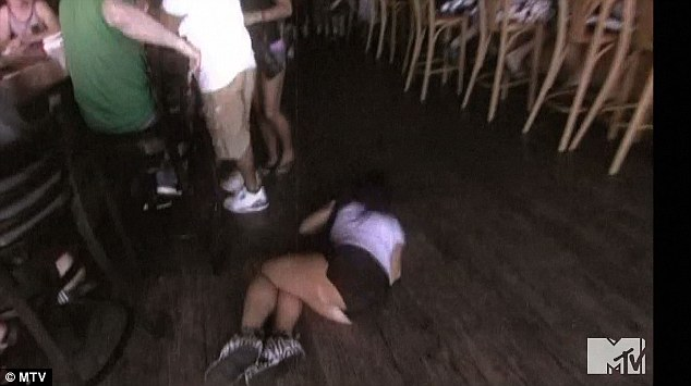 Oh dear: It seems she has a problem holding her liquor after she ended up falling over in a heap in the bar