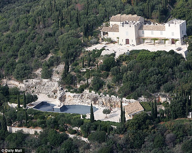 Friends in high places: This is the family home on the Greek island of Corfu where Nat Rothschild entertained Chancellor George Osborne and former business secretary Peter Mandleson