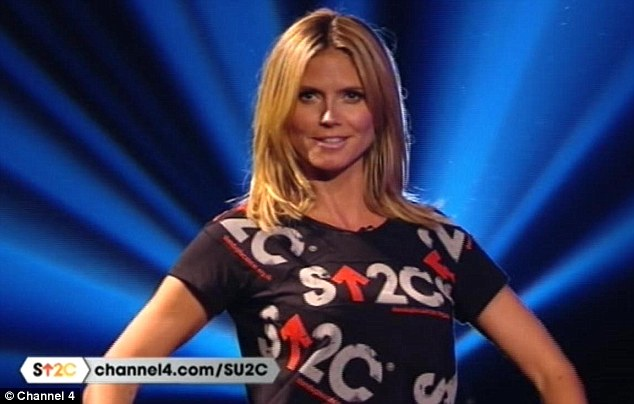 Model behaviour: Heidi Klum appeared on the Stand Up To Cancer telethon wearing a T-shirt she had designed herself