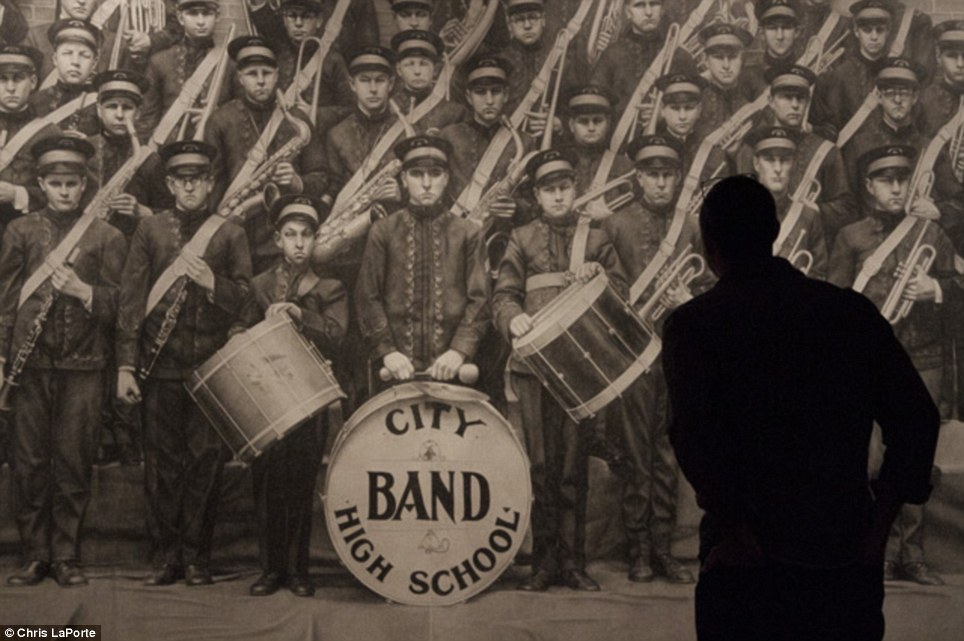 Mr LaPorte used an 80-year-old photo of his grandfather and his high school marching band which damaged and blurry to create his masterpiece