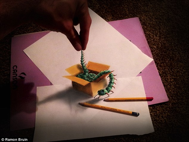 The technique, created by Bruin, is something he calls 'anamorphic illustrations'