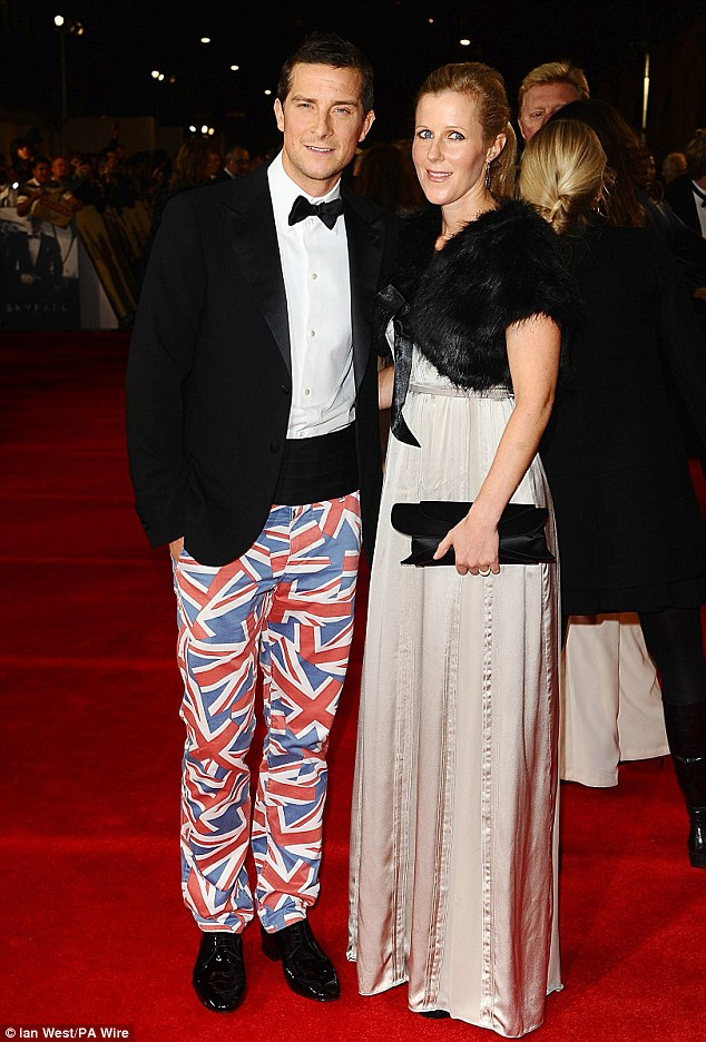 Not so suave: Adventurer Bear Grylls went a bit too adventurous as he tried to go patriotic in Union Jack trousers