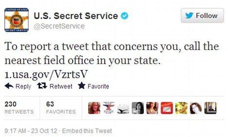 Request: The Secret Service issued this tweet on Tuesday morning